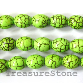 Bead, dyed turquoise, lime green, 10x13mm oval. 15.5-inch.