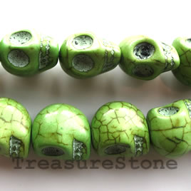 Bead, dyed turquoise, green, 14x18mm skull. 16-inch.