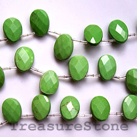 Bead, dyed turquoise, olivine, 13x17mm faceted teardrop. 16-inch