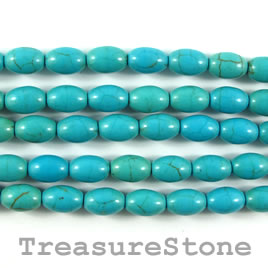 Bead, dyed turquoise, 6x9mm oval. 15.5-inch