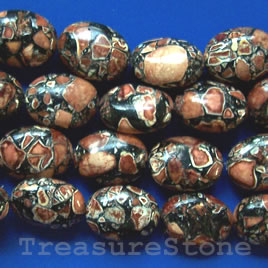 Bead, processed turquoise, 14x20mm brown+black oval. 16 inch