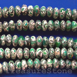 Bead, processed turquoise, green, 6x11mm rondelle. 16 inch