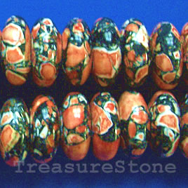 Bead, processed turquoise, 7x17mm,orange+black rondelle. 16 inch