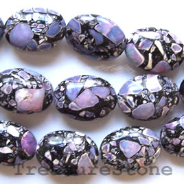 Bead, processed turquoise, purple, 20x26mm oval. 16 inch