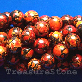 Bead, processed turquoise, red, 11mm round. 16 inch.