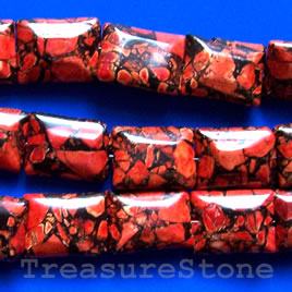 Bead, processed turquoise, red, 15x20mm rectangle. 16 inch.