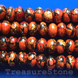 Bead, processed turquoise, red, 6x10mm rondelle. 15.5 inch