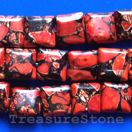 Bead, processed turquoise, red, 10mm square. 16 inch.