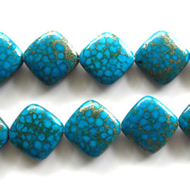 Bead, processed turquoise, 24mm flat diamond. Pkg of 18pcs.