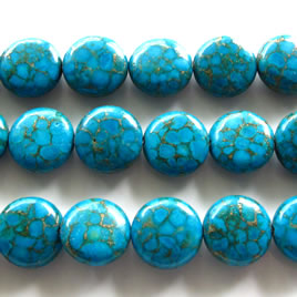 Bead, processed turquoise, 14mm flat round blue. 16 inch strand