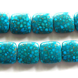 Bead, processed turquoise, 20mm flat square. Pkg of 20pcs.