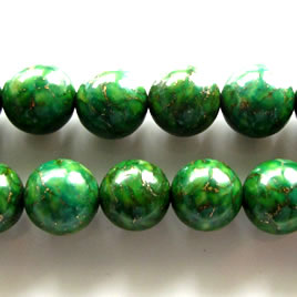 Bead, processed turquoise, 12mm round dark green. 16 inch strand