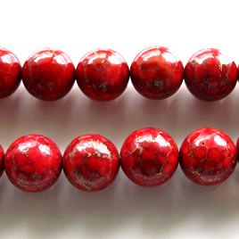 Bead, processed turquoise, 12mm round dark red. 16 inch strand