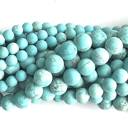 "Bead, dyed magnesite, turquoise, matte, 10mm round. 15.5"", 39pcs"