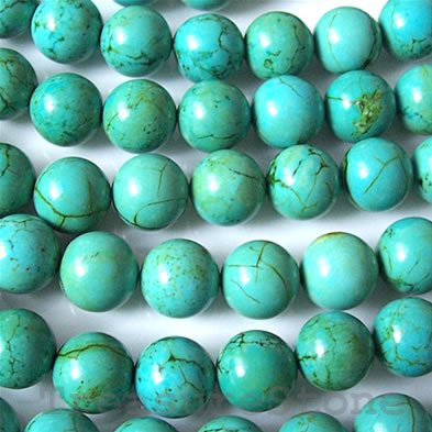 Bead, dyed turquoise, 6mm round. Sold per 16-inch strand.