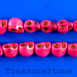 Bead, dyed turquoise, 8x11mm skrll, fuchsia. 16-inch