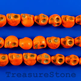 Bead, dyed turquoise, 9x11mm skull, orange. 15.5-inch