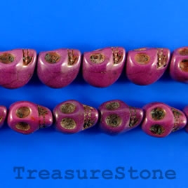 Bead, dyed turquoise, 11x14mm skull, purple. 15.5-inch