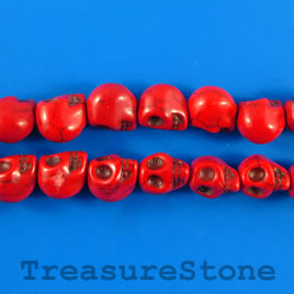 Bead, dyed turquoise, 9x11mm skull, red. 16-inch