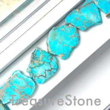 Bead, Imperial Jasper, dyed, turquoise, 30-45mm slab, 10pcs