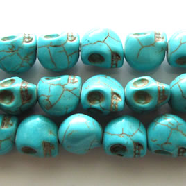 Bead, dyed turquoise, center-drilled, 10x12mm skull. 16 inch.