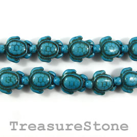 Bead, dyed turquoise, blue, 15x19mm turtle. 15.5-inch