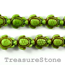 Bead, dyed turquoise, 15x18mm green turtle. 15.5-inch strand.