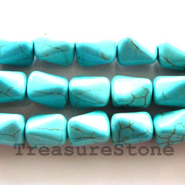 Bead, dyed turquoise, 9x11mm bone. Sold per 16-inch strand.