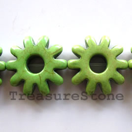 Bead, dyed turquoise, green, 29mm sunflower. 15pcs