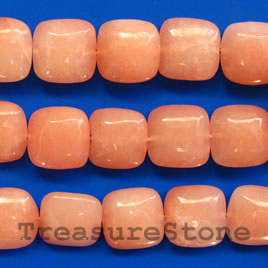 Bead, jade (dyed), peach, 16mm puffed square. 16-inch.