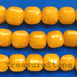 Bead, jade (dyed), yellow, 14mm puffed square. 16-inch strand.