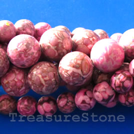 Bead, medical stone, maifanite, pink (dyed), 8mm round. 16 inch