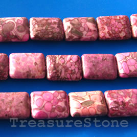 Bead, jasper (dyed), 15x20mm rectangle. 16 inch strand.