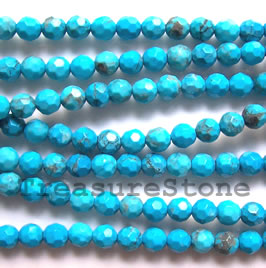 Bead, dyed turquoise, 6mm faceted round. 16-inch strand.