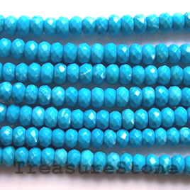 Bead, dyed turquoise, 6x4mm faceted rondelle, A grade. 16-inch.