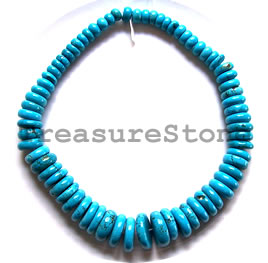Bead, dyed turquoise, 10x6 to 23x6mm graduated disk. 16-inch.