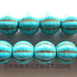 Bead, dyed turquoise, 12x13 mm pumpkin. 15.5-inch strand.