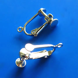 Earring, clip-on,15mm hinged screwback. Pkg of 3 pairs.