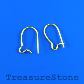 Earwire, gold-plated brass, 15mm kidney, open loop. Pkg of 35.