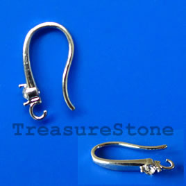 Earwire, silver-plated brass, fishhook with stone. Pkg of 3.