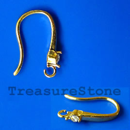 Earwire, gold-plated brass, fishhook with stone. Pkg of 3.