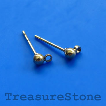Earstud, gold-colored brass, 3mm ball, with close loop, 12 pairs