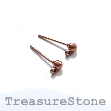 Earstud, copper-colored brass,3mm ball, closed loop. 12 pairs