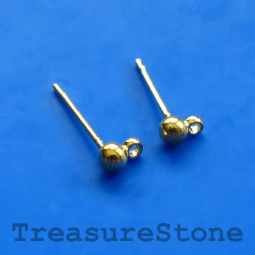 Earstud, gold-finished brass,3mm ball, closed loop. 12 pairs