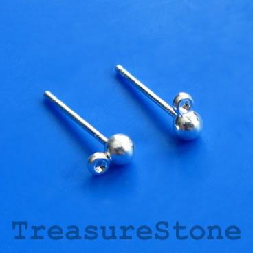 Earstud, silver-finished brass, 3mm ball, closed loop. 12 pairs