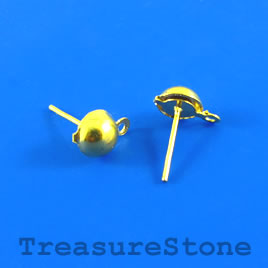 Earstud,gold-finished brass,5mm half ball, closed loop. 25 pairs