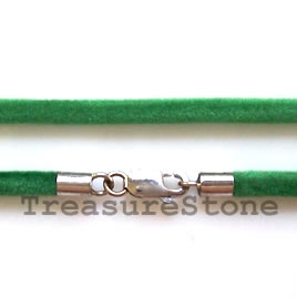 Cord, emerald green w sterling silver clasp, connector, 18 inch