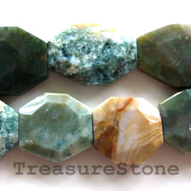 Bead, fancy jasper, 27x36x7mm faceted freeform. 11pcs