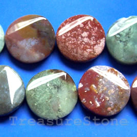 Bead, fancy jasper, 30mm faceted flat round. 13pcs