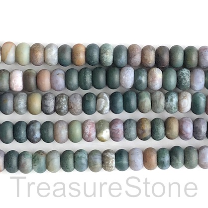 Bead, fancy jasper, 5x8mm rondelle matte. 15-inch